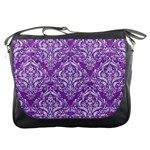 DAMASK1 WHITE MARBLE & PURPLE DENIM Messenger Bags Front