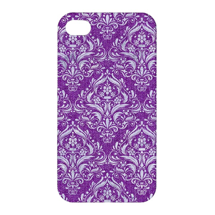 DAMASK1 WHITE MARBLE & PURPLE DENIM Apple iPhone 4/4S Premium Hardshell Case
