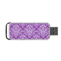 Damask1 White Marble & Purple Denim Portable Usb Flash (one Side)