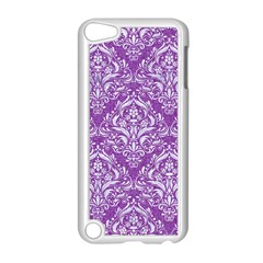 Damask1 White Marble & Purple Denim Apple Ipod Touch 5 Case (white)
