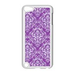 DAMASK1 WHITE MARBLE & PURPLE DENIM Apple iPod Touch 5 Case (White) Front