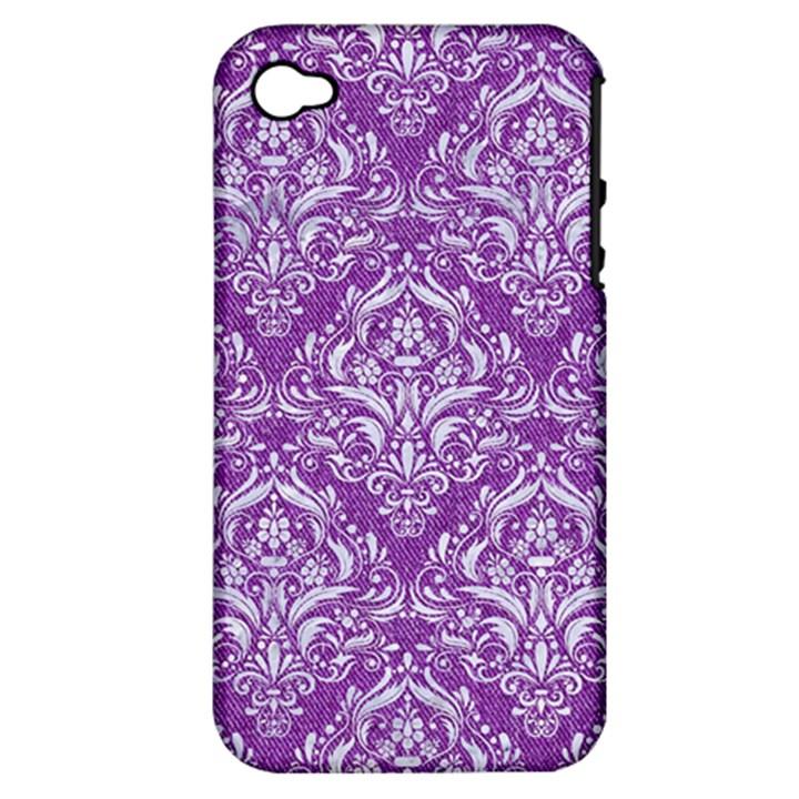 DAMASK1 WHITE MARBLE & PURPLE DENIM Apple iPhone 4/4S Hardshell Case (PC+Silicone)