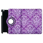 DAMASK1 WHITE MARBLE & PURPLE DENIM Apple iPad 2 Flip 360 Case Front