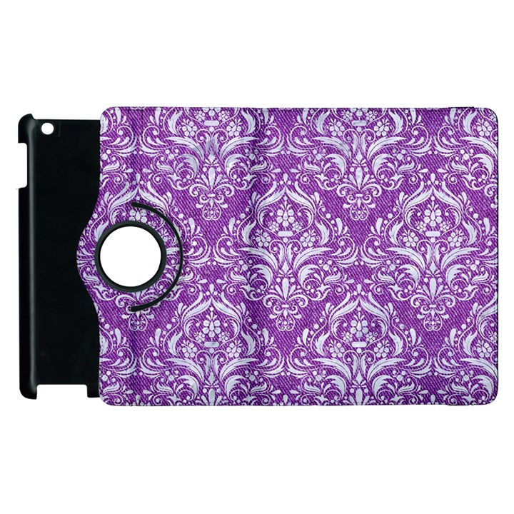DAMASK1 WHITE MARBLE & PURPLE DENIM Apple iPad 2 Flip 360 Case