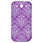 DAMASK1 WHITE MARBLE & PURPLE DENIM Samsung Galaxy S3 S III Classic Hardshell Back Case Front