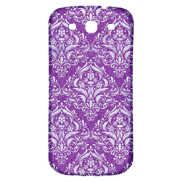 DAMASK1 WHITE MARBLE & PURPLE DENIM Samsung Galaxy S3 S III Classic Hardshell Back Case