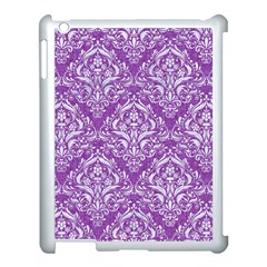 Damask1 White Marble & Purple Denim Apple Ipad 3/4 Case (white)