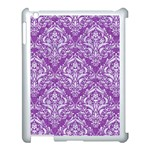 DAMASK1 WHITE MARBLE & PURPLE DENIM Apple iPad 3/4 Case (White) Front