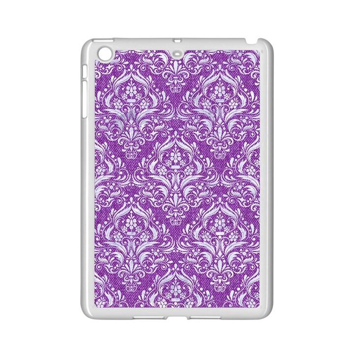 DAMASK1 WHITE MARBLE & PURPLE DENIM iPad Mini 2 Enamel Coated Cases
