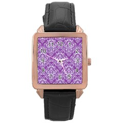 Damask1 White Marble & Purple Denim Rose Gold Leather Watch  by trendistuff