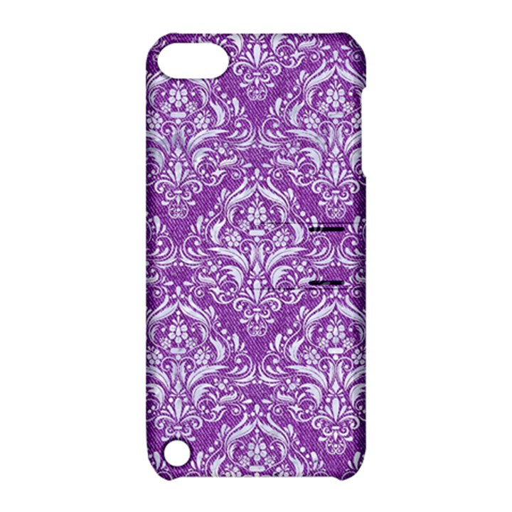 DAMASK1 WHITE MARBLE & PURPLE DENIM Apple iPod Touch 5 Hardshell Case with Stand
