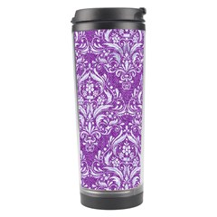 Damask1 White Marble & Purple Denim Travel Tumbler