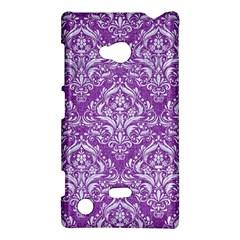 Damask1 White Marble & Purple Denim Nokia Lumia 720