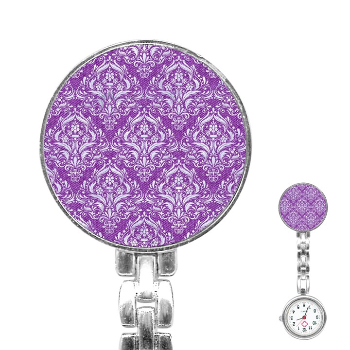 DAMASK1 WHITE MARBLE & PURPLE DENIM Stainless Steel Nurses Watch