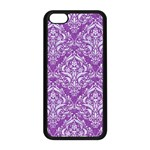 DAMASK1 WHITE MARBLE & PURPLE DENIM Apple iPhone 5C Seamless Case (Black) Front