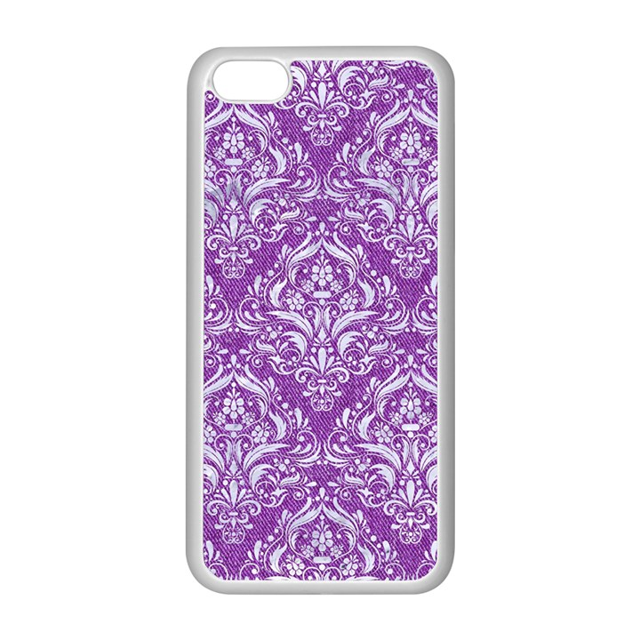 DAMASK1 WHITE MARBLE & PURPLE DENIM Apple iPhone 5C Seamless Case (White)