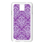 DAMASK1 WHITE MARBLE & PURPLE DENIM Samsung Galaxy Note 3 N9005 Case (White) Front