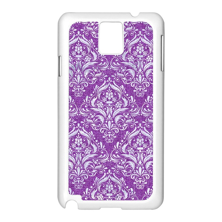 DAMASK1 WHITE MARBLE & PURPLE DENIM Samsung Galaxy Note 3 N9005 Case (White)