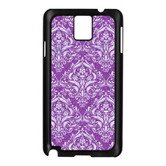 Damask1 White Marble & Purple Denim Samsung Galaxy Note 3 N9005 Case (black)