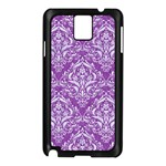 DAMASK1 WHITE MARBLE & PURPLE DENIM Samsung Galaxy Note 3 N9005 Case (Black) Front