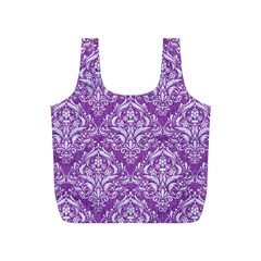 Damask1 White Marble & Purple Denim Full Print Recycle Bags (s)
