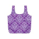 DAMASK1 WHITE MARBLE & PURPLE DENIM Full Print Recycle Bags (S)  Front