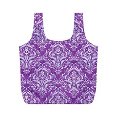 Damask1 White Marble & Purple Denim Full Print Recycle Bags (m)