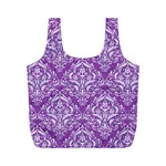 DAMASK1 WHITE MARBLE & PURPLE DENIM Full Print Recycle Bags (M)  Front
