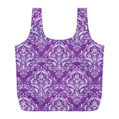 Damask1 White Marble & Purple Denim Full Print Recycle Bags (l)