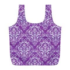 Damask1 White Marble & Purple Denim Full Print Recycle Bags (l)