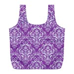 DAMASK1 WHITE MARBLE & PURPLE DENIM Full Print Recycle Bags (L)  Front