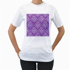 Damask1 White Marble & Purple Denim Women s T Shirt (white)