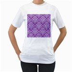 DAMASK1 WHITE MARBLE & PURPLE DENIM Women s T-Shirt (White)  Front
