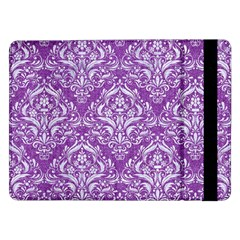 Damask1 White Marble & Purple Denim Samsung Galaxy Tab Pro 12 2  Flip Case