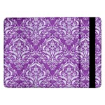 DAMASK1 WHITE MARBLE & PURPLE DENIM Samsung Galaxy Tab Pro 12.2  Flip Case Front