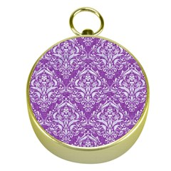 Damask1 White Marble & Purple Denim Gold Compasses