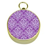 DAMASK1 WHITE MARBLE & PURPLE DENIM Gold Compasses Front