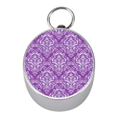 Damask1 White Marble & Purple Denim Mini Silver Compasses