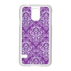 Damask1 White Marble & Purple Denim Samsung Galaxy S5 Case (white) by trendistuff