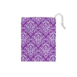 DAMASK1 WHITE MARBLE & PURPLE DENIM Drawstring Pouches (Small)  Front