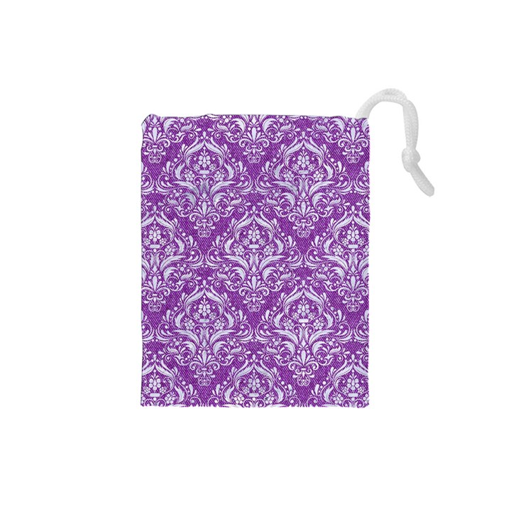 DAMASK1 WHITE MARBLE & PURPLE DENIM Drawstring Pouches (Small)