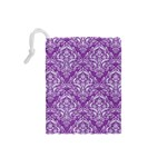 DAMASK1 WHITE MARBLE & PURPLE DENIM Drawstring Pouches (Small)  Back