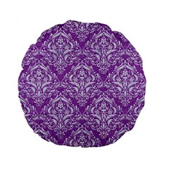 Damask1 White Marble & Purple Denim Standard 15  Premium Flano Round Cushions