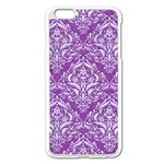 DAMASK1 WHITE MARBLE & PURPLE DENIM Apple iPhone 6 Plus/6S Plus Enamel White Case Front