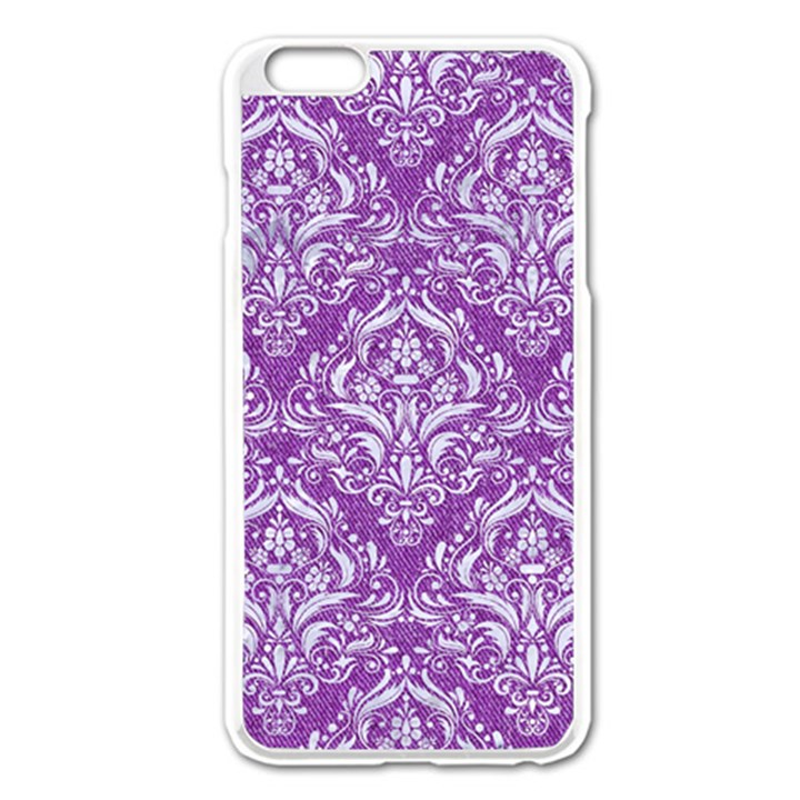 DAMASK1 WHITE MARBLE & PURPLE DENIM Apple iPhone 6 Plus/6S Plus Enamel White Case