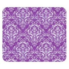 Damask1 White Marble & Purple Denim Double Sided Flano Blanket (small)