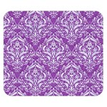 DAMASK1 WHITE MARBLE & PURPLE DENIM Double Sided Flano Blanket (Small)  50 x40 Blanket Back