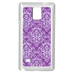 DAMASK1 WHITE MARBLE & PURPLE DENIM Samsung Galaxy Note 4 Case (White) Front