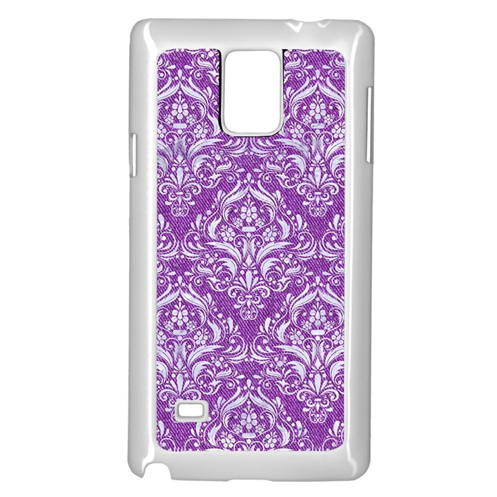 DAMASK1 WHITE MARBLE & PURPLE DENIM Samsung Galaxy Note 4 Case (White)