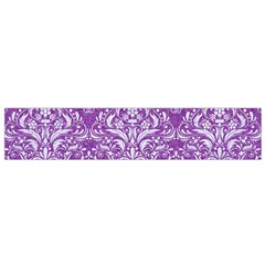 Damask1 White Marble & Purple Denim Small Flano Scarf